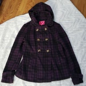 Womens purple plaid heavy coat Large hooded